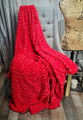 """A 50""""x60 Roses Frosted Red on Black, w/DIVINE Fabric *DEAL"""