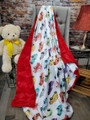 This is an example of a finished blanket with Scarlet Red Bella on the back side.