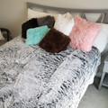 This is an example of some finished Queen Sized Graphite & Frosted White SHAG Blanket. Shag pillows are various sizes.