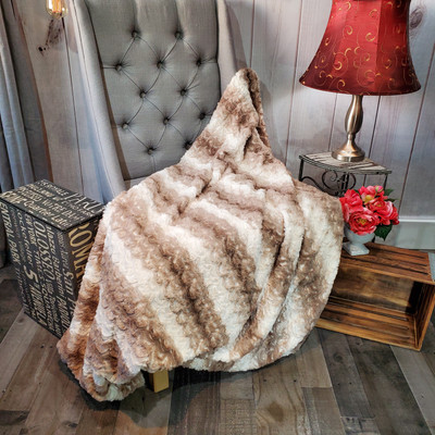 "A Brown & Cream Minky 50""x60"" Blanket *DEAL"