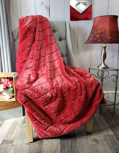 "A 50""x63"" Chinchilla Ruby Red Blanket, w/DIVINE Fabric *DEAL"