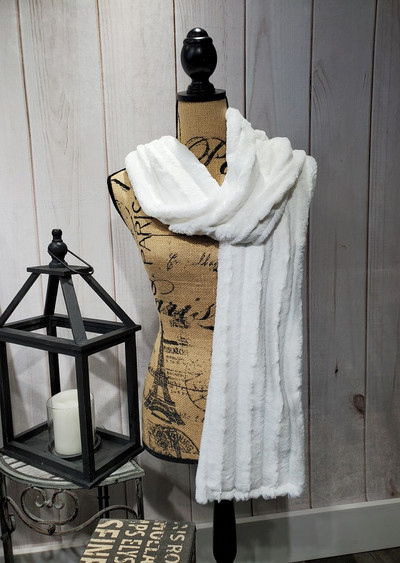 """A 90"""" Scarf - Sable in Snow White *DEAL"""