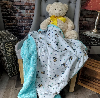 """A 30""""x50"""" A-B-C Baby Blanket w/Roses in Saltwater *DEAL"""