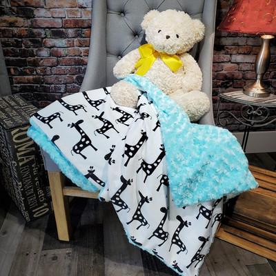 """A 30""""x31"""" Giraffe Blanket w/De-Ville on the back *DEAL"""