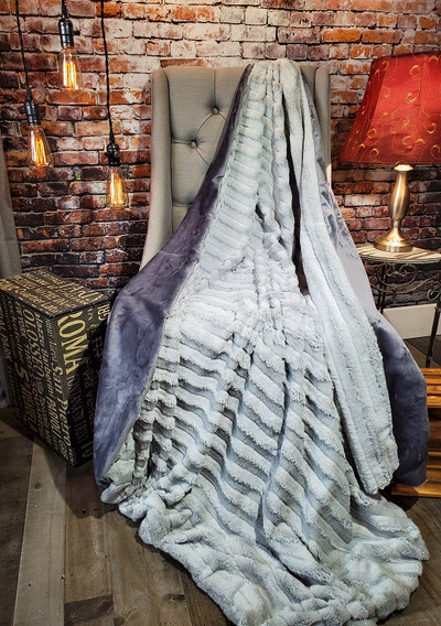 """A 53""""x60"""" Silver Sable Blanket, w/Gray Minky back *DEAL"""