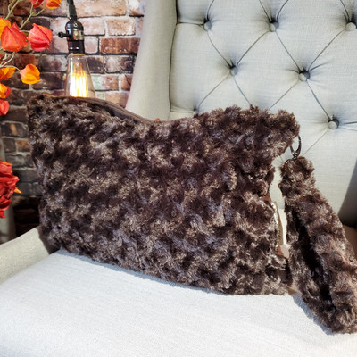 A Brown Roses Travel Blanket, w/Brown Minky back *DEAL