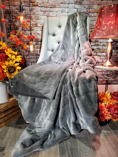 "A 45""x63"" Plush Gray Minky Blanket, w/ DIVINE Fabric *DEAL"
