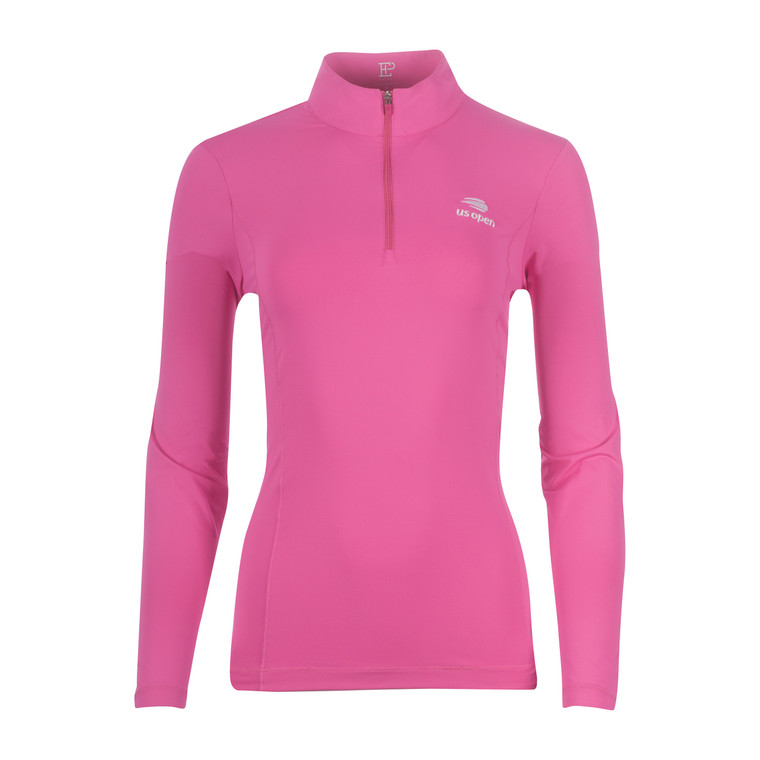 Women's Embroidered 1/4 Zip Pullover - Pink