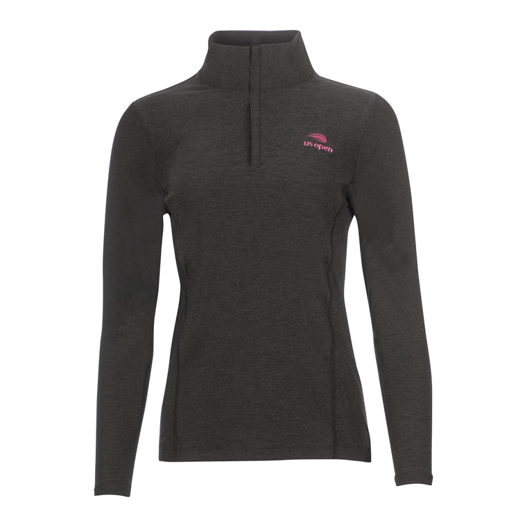 Women's Melange 1/4 Zip Pullover - Black