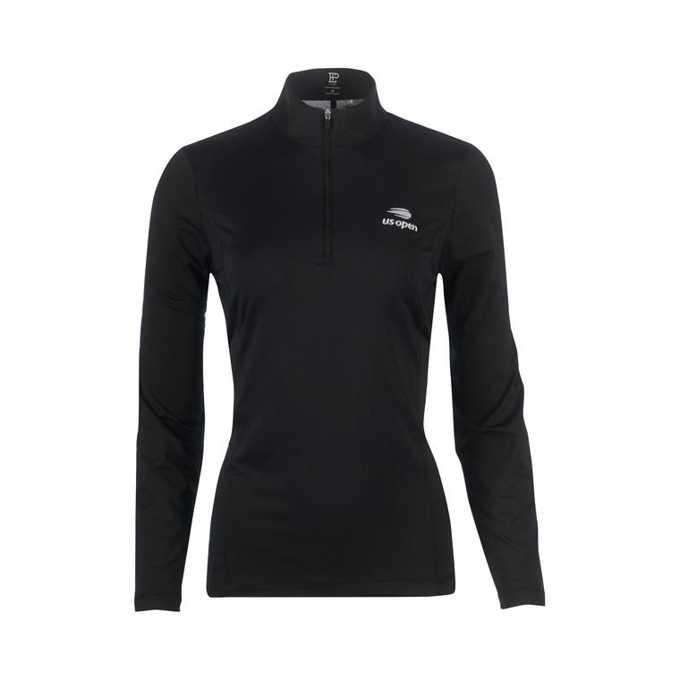 Women's Mock Polo 1/4 Zip Pullover - Black