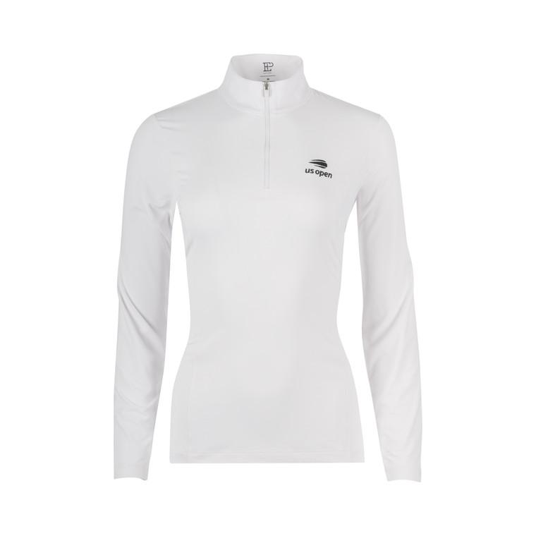 Women's Mock Polo 1/4 Zip Pullover - White