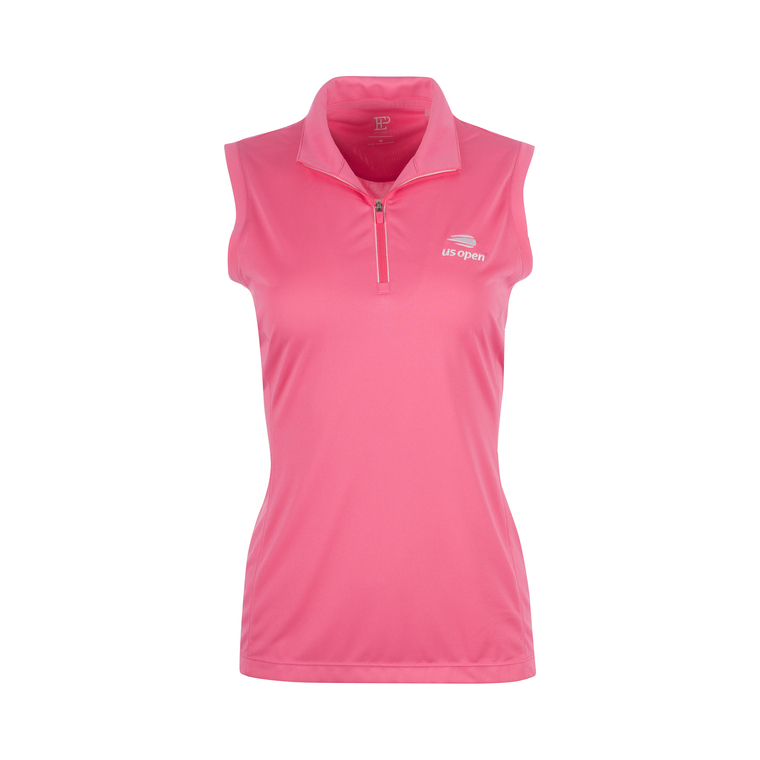 Women's Sleeveless Mock Polo Shirt - Pink