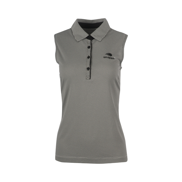 Women's Sleeveless Geometeric Polo Shirt - Black