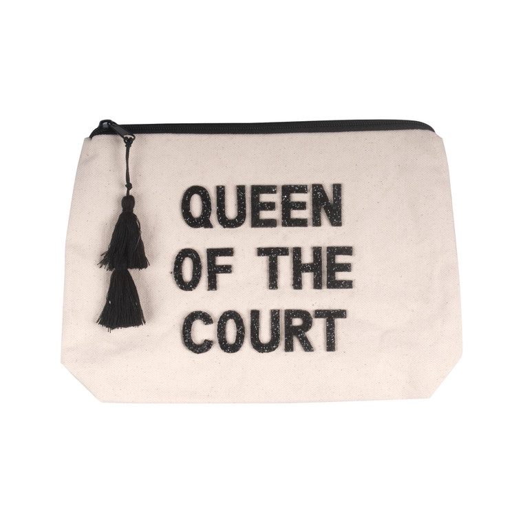 Queen Of The Court Canvas Zipper Pouch