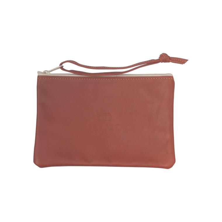 Leather Wristlet Clutch - Tan