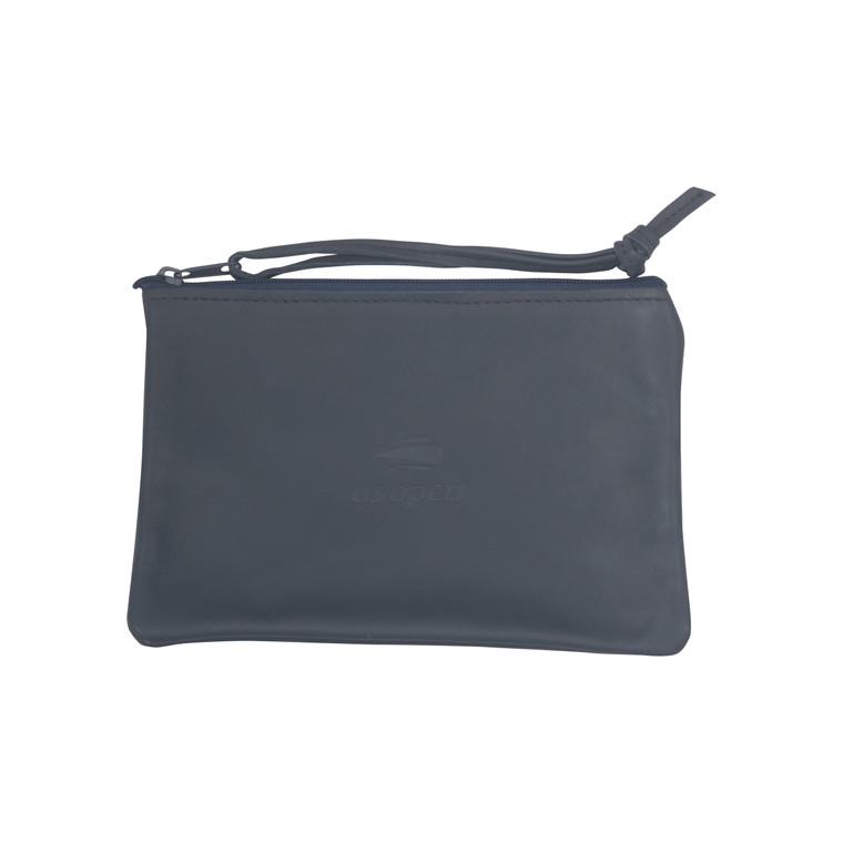 Leather Wristlet Clutch - Navy