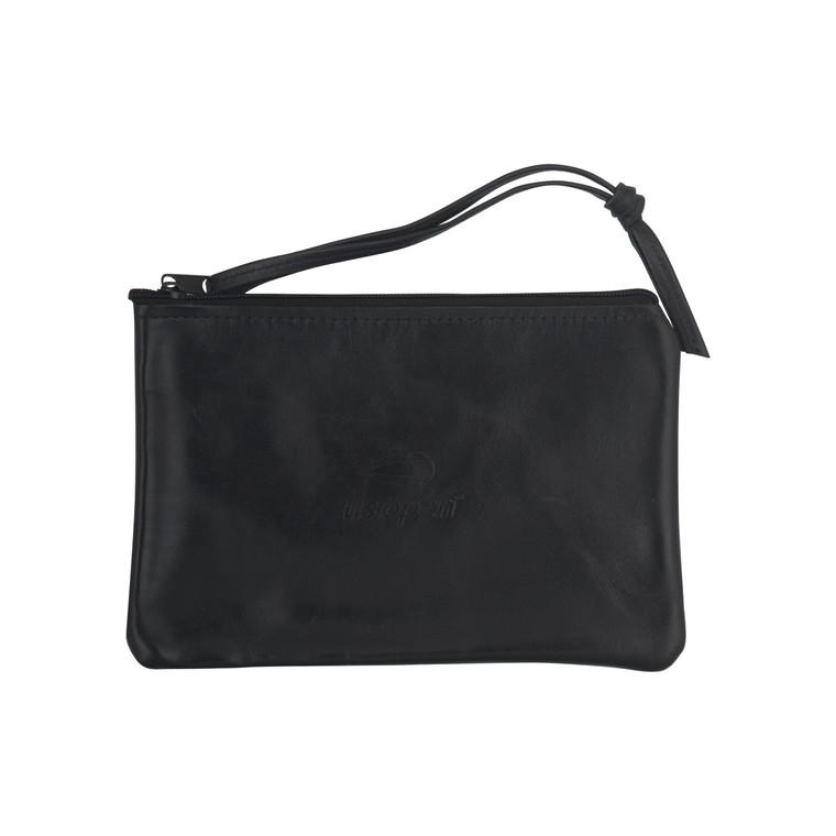 Leather Wristlet Clutch - Black