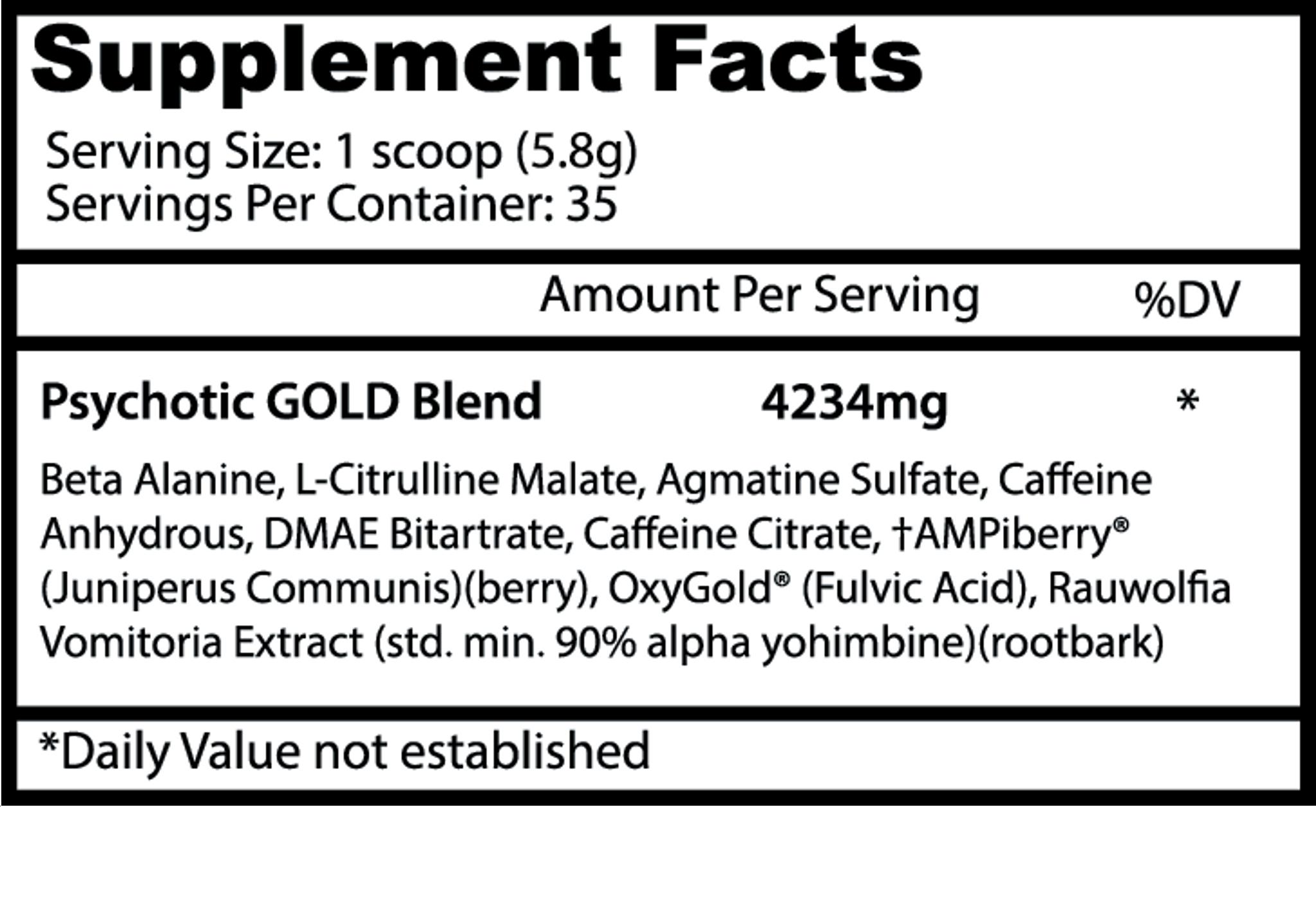 Insane Labz- Psychotic Gold - Supplement World