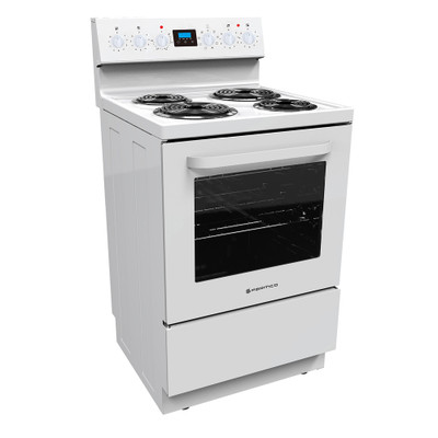 600mm Freestanding Stove, Radiant Coil Cooktop, 8 Function Electric Oven, White