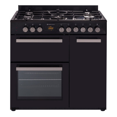 Country Style Freestanding Gas Stove, 1 & 1/2 Ovens + Grill, Black