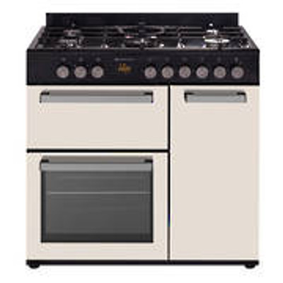 Country Style Freestanding Gas Stove, 1 & 1/2 Ovens + Grill, BEIGE