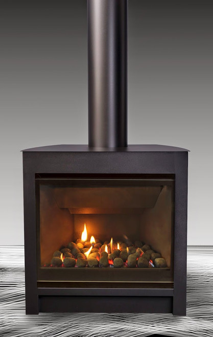 Escea DFS730 Freestanding Gas Fire with Black Console