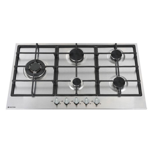 PARMCO 900mm Gas Hob, 4 Burner + Wok, Stainless Steel