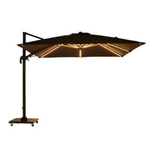 3.0m Square Cantilever Umbrella with LED Lights & Planosol Single colour Shade