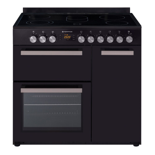 Country Style Freestanding Ceramic Stove,1 & 1/2 Ovens + Grill, Black