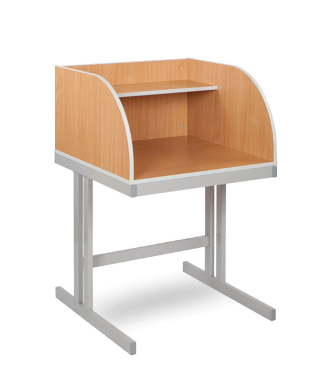 EF0214-M Monarch Study Carrel with Cantilever Legs Beech with Light Grey Metal Frame