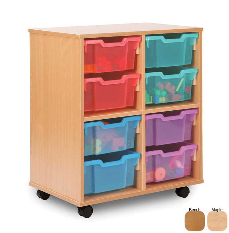 SA08D-M Monarch Allsorts Stackable Storage Unit with 8 Deep Trays Beech