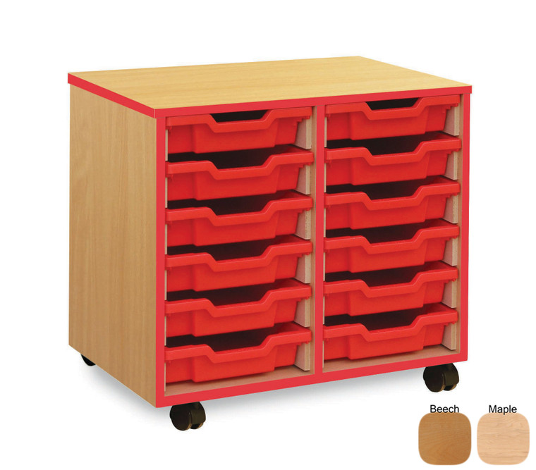 MEQ2WRE-M Monarch Coloured Edge Tray Storage Unit with Red Edging 12 Shallow Red Trays Beech