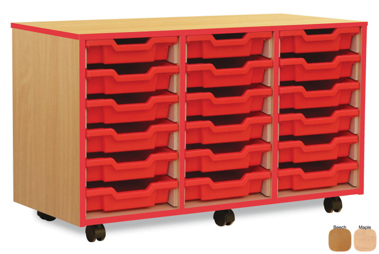 MEQ3WRE-M Monarch Coloured Edge Tray Storage Unit with Red Edging 18 Shallow Red Trays Beech