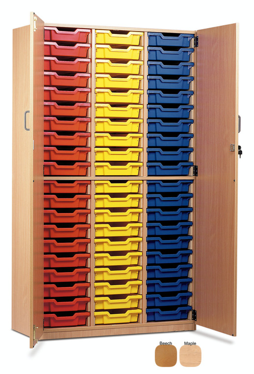 MEQ60C-M Monarch Cupboard 60 Shallow Trays with Full Lockable Doors Beech