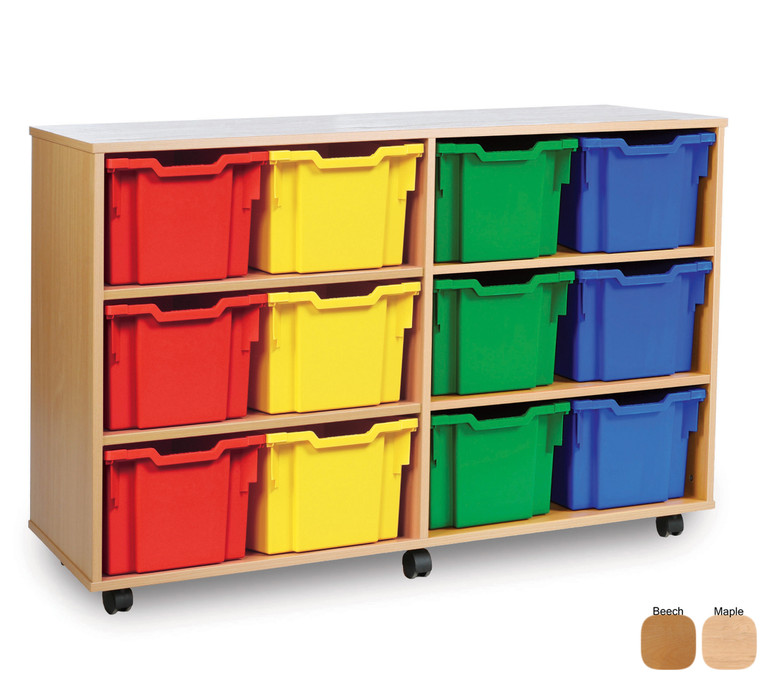 MEQ3112-M Gratnells Extra Deep Tray Storage Unit with 12 Extra Deep Trays Beech