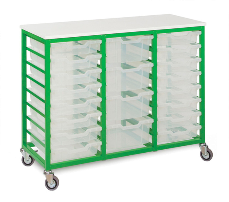 EF8804C-M Monarch Metal Framed Storage Unit on Castors with 24 Shallow Trays