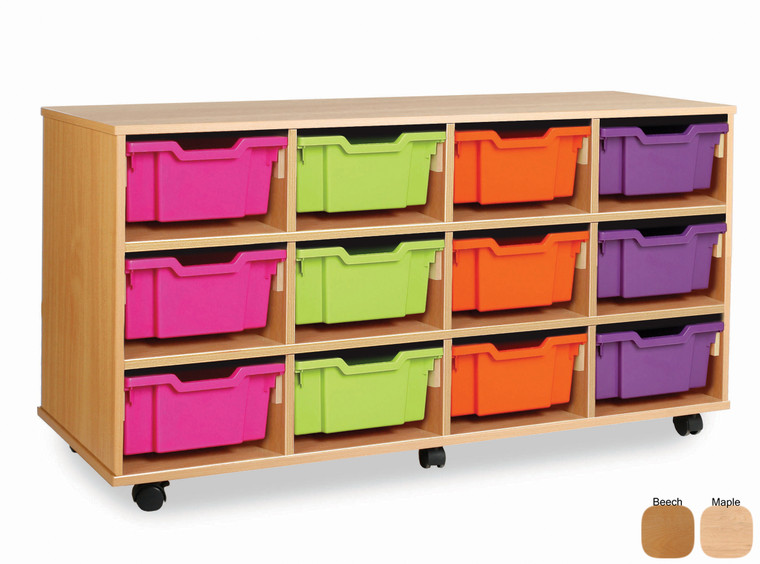 MEQ4012-M Gratnells Combination Tray Storage Unit with 12 Deep or 24 Shallow Trays or a combination Beech