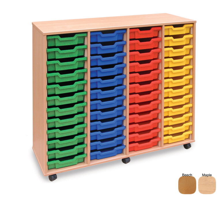 MEQ48W-M Gratnells 4Store Tray Storage Unit with 48 Shallow Trays Beech