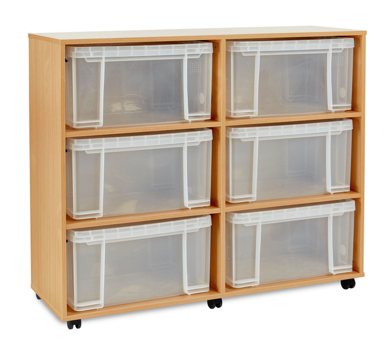 RUB048-M Monarch Really Useful Box Storage Unit with 6x48L Boxes Lids Beech