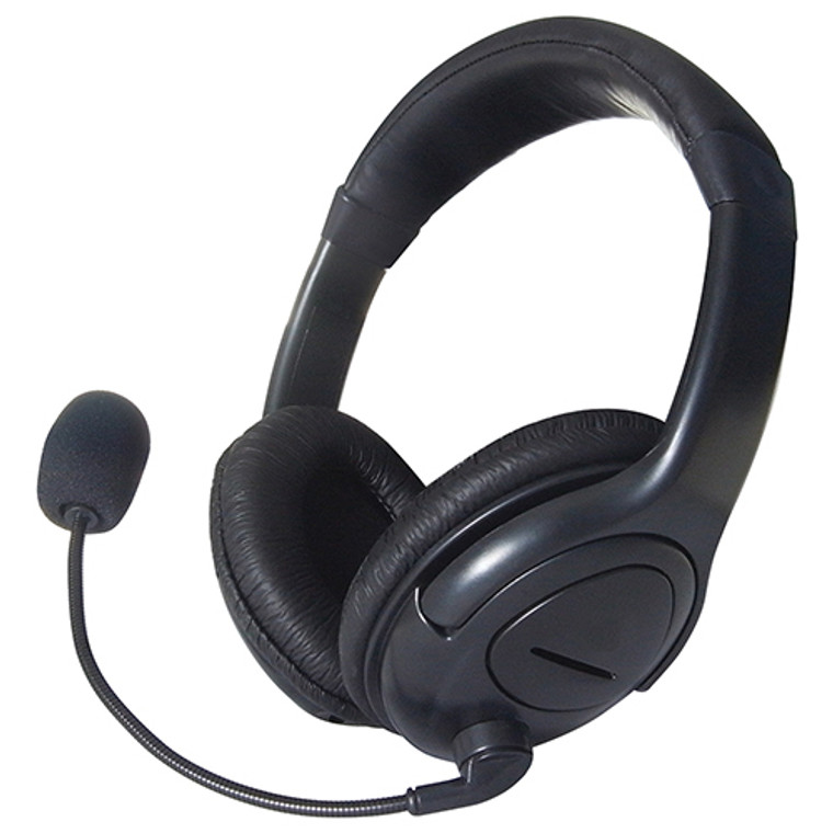 Stereo Headset with Boom Mic In-Line Volume Control Adjustable Faux Leather Head Band Black