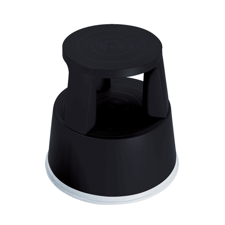 2W04996 2Work Plastic Step Stool with Non-Slip Rubber Base 430mm Black T7 Black