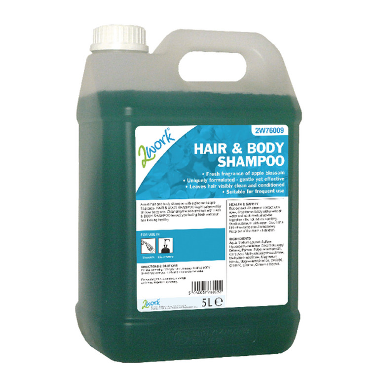 2W76009 2Work Hair Body Wash Apple Fragrance 5 Litre Bulk Bottle 2W76009