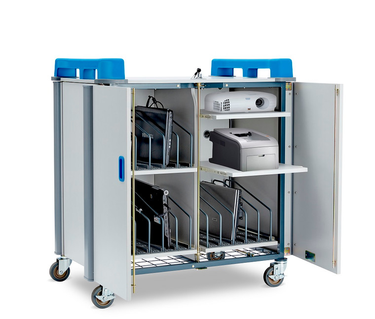 15-Device Mobile Charging Trolley with extra sliding Shelves for projector and printer