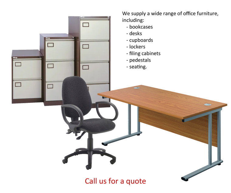 OFFICE FURNITURE for all your needs, including bookcases, desks, filing cabinets and seating