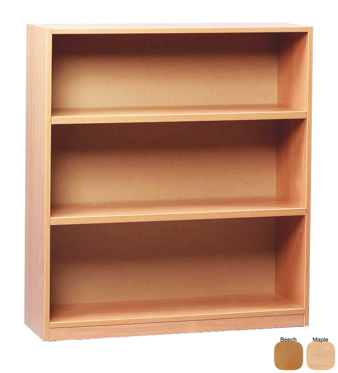 MEQ1000BC-M Monarch Open Bookcase with 1 Fixed 2 Adjustable Shelves W900 x D320 x H1000mm Beech