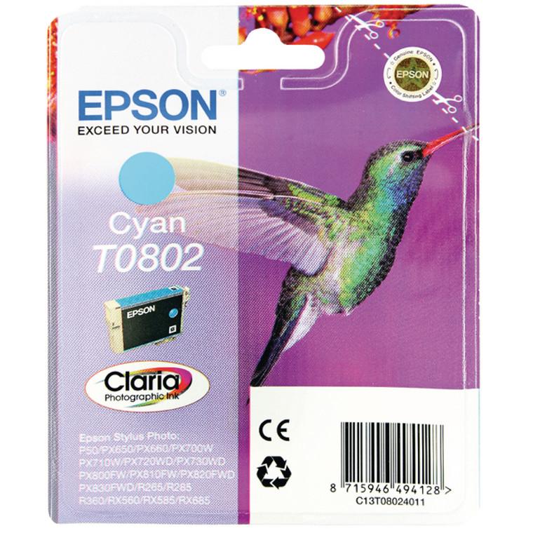 T08024010 Epson C13T08024010 T0802 Cyan Ink Cartridge Hummingbird
