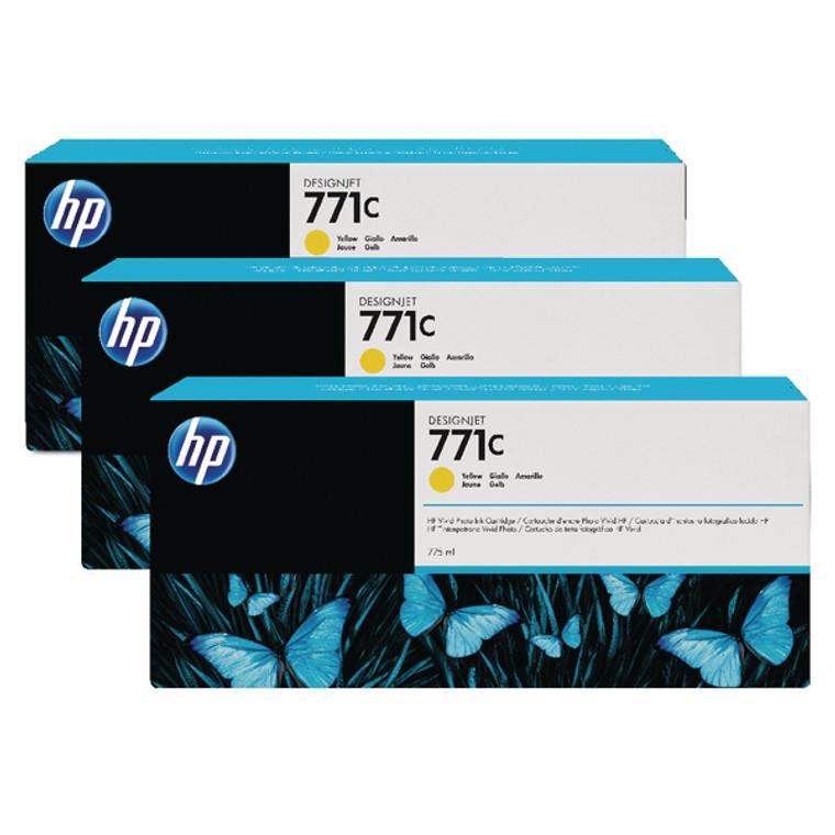 B6Y34A HP B6Y34A 771C Yellow Ink Cartridge Triple Pack