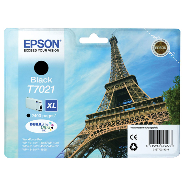 T70214010 Epson C13T70214010 T7021XL Black Ink Cartridge Eiffel Tower