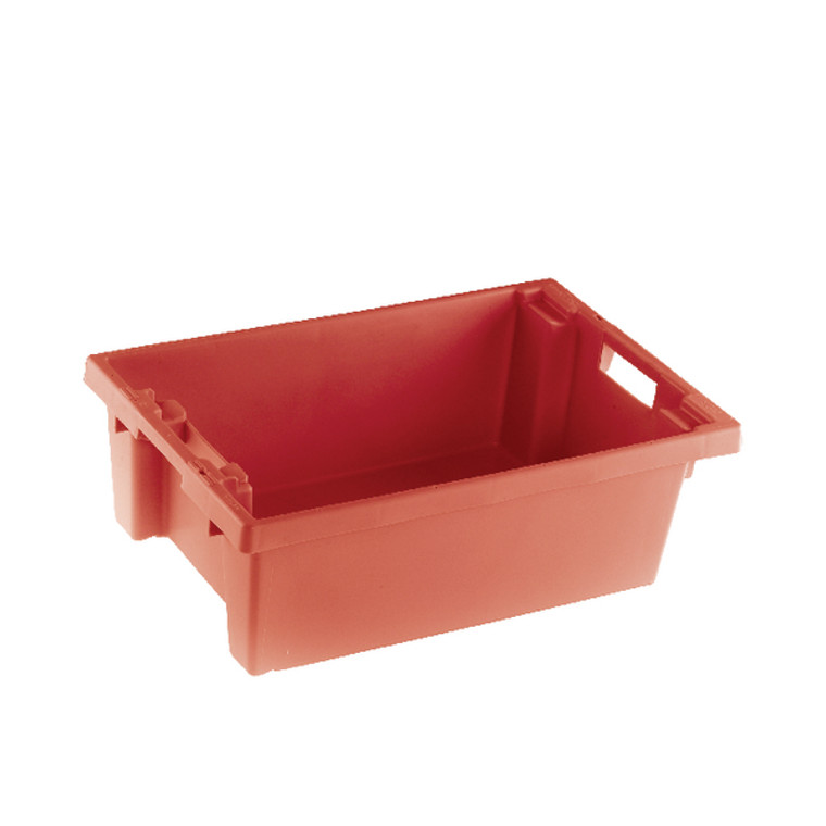 SBY24785 VFM Red Solid Slide Stack Nesting Container 32 Litre 382958