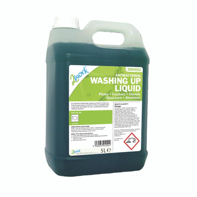 2W04022 2Work Antibacterial Washing Up Liquid 5 Litre 221